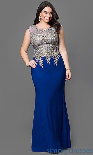 Metallic-Lace Long Formal Dress in Plus Sizes
