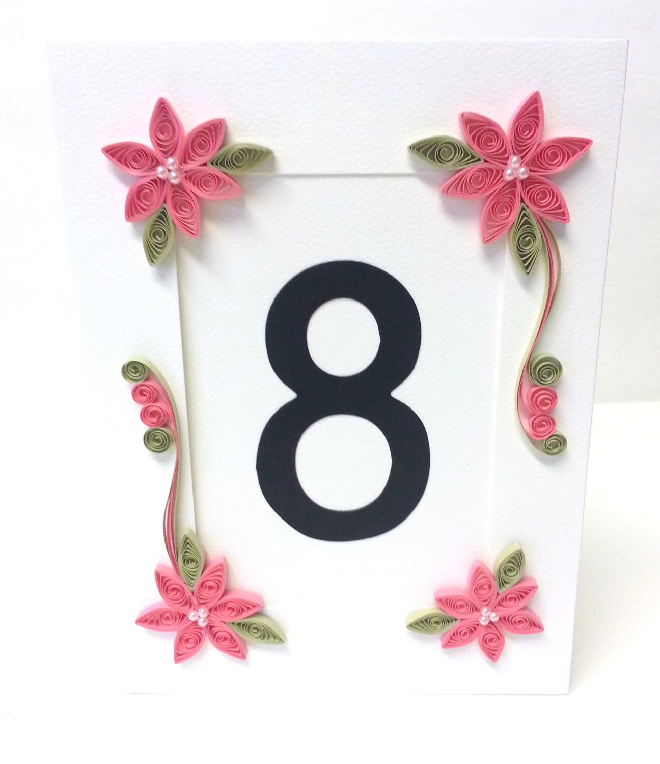 Quilling wedding decorations  Wedding Table Numbers Pink Wedding Table Decor Pink Table