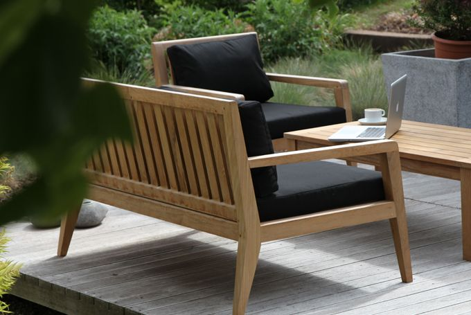 New Menton Garden Sofas In Solid Teak With Black Cushions
