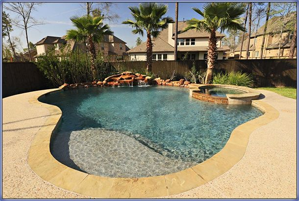 Beach entry swimming pool remodeling renovation ideas for Beach entry swimming pool designs