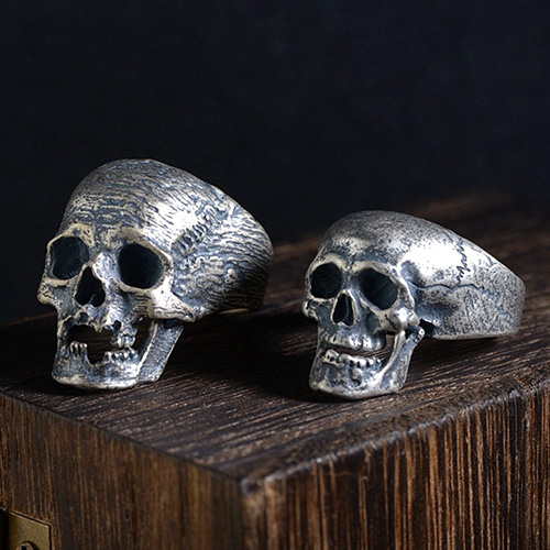 Skull With Jaw Dropped: Men's Sterling Silver Skull Jaw Openable Ring (med Bilder