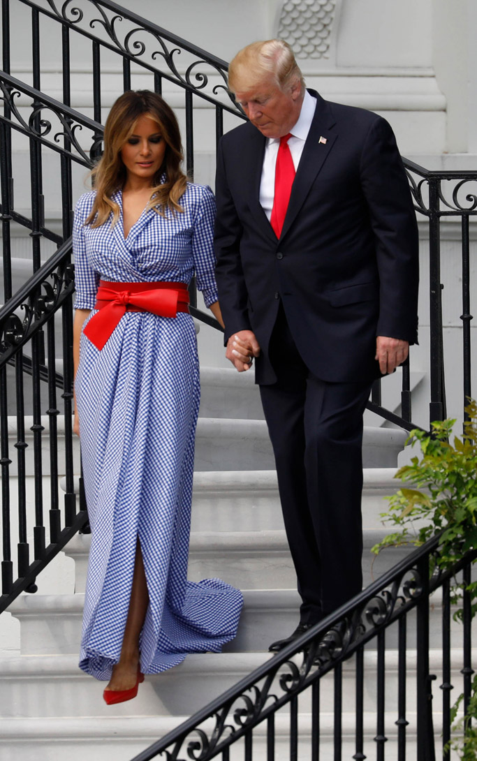 Melania Trump S 4th Of July Outfit Comes With A Stylish History Lesson 4th Of July Dresses Trump Fashion Milania Trump Style
