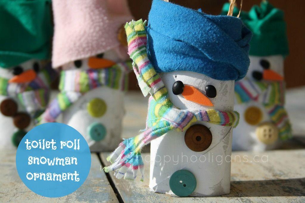 toilet roll snowman ornament