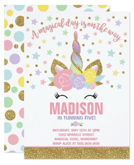 Rainbow Unicorn Birthday Invitation Pink Gold In 2018 Kids
