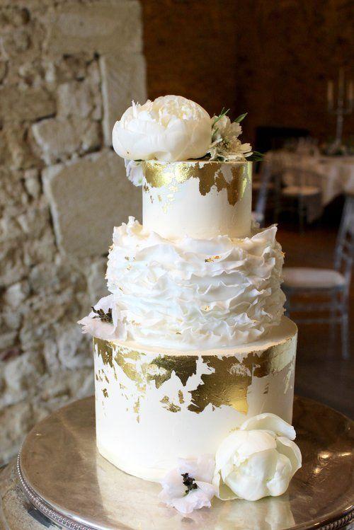 Luxe Gold Ruffle Wedding Cake by Yolk. www.cakesbyyolk.com