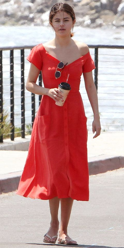 red dress celebrity casual