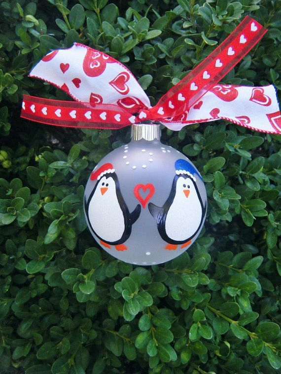 Christmas Penguin Ornament Personalized Christmas Hand
