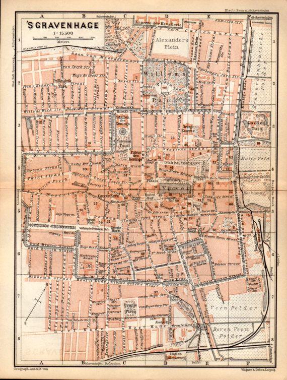 1897 The Hague Netherlands Antique Map Vintage Lithograph s