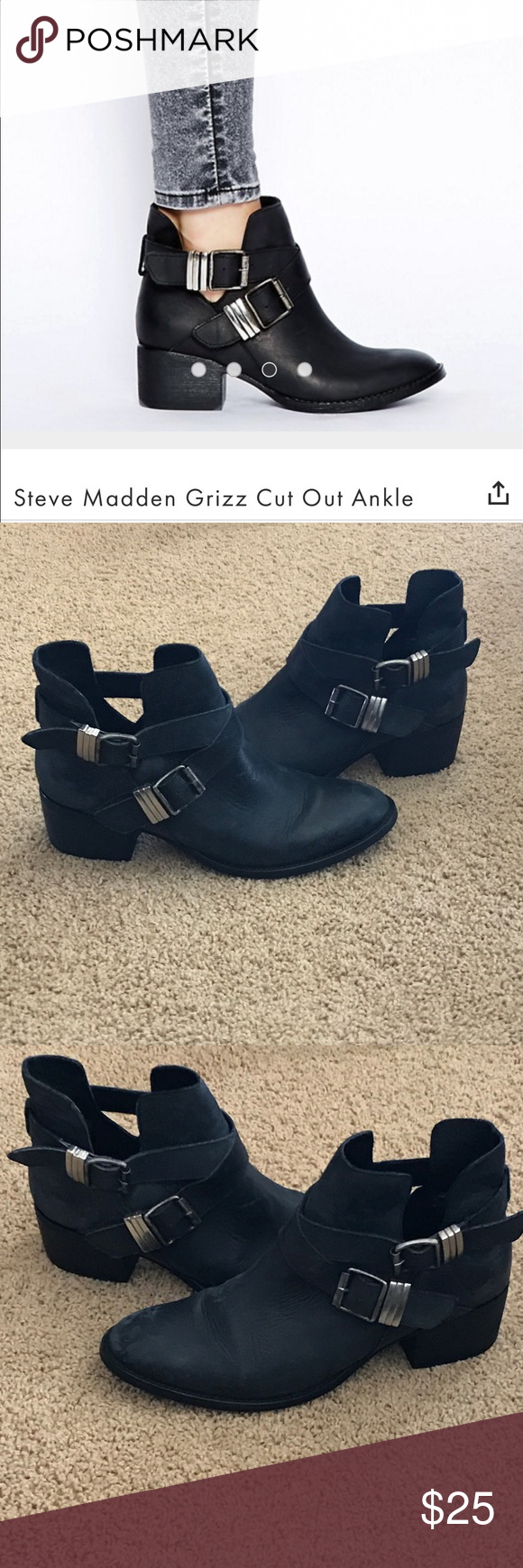 Steve Madden Grizz Cutout Ankle Boots *Gently Worn* There is some wear on the leather but it doesn't make the boot look bad (see pictures). I love these boots and have gotten so many compliments every time I wore them ❤️ Steve Madden Shoes Ankle Boots & Booties
