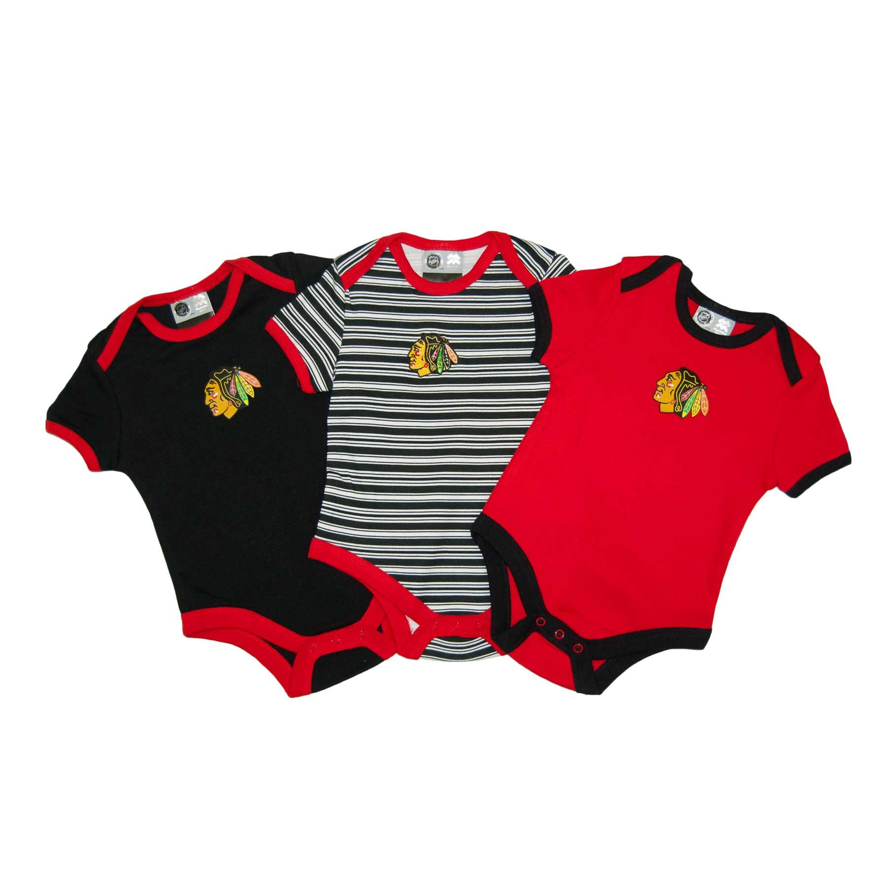 finest selection c2fb4 407a0 Chicago Blackhawks Baby 3-pc Solid & Stripes Creeper Set ...