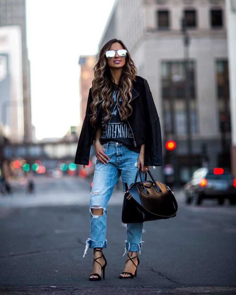 ce30d61a213d fashion blogger mia mia mine wearing distressed denim and a band tee from  macy s