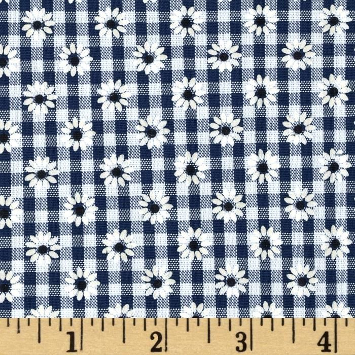 Woven 1/8 Daisy Gingham Navy from @fabricdotcom  This woven poly/cotton gingham fabric is ultra comfortable to wear and perfect for blouses, dresses, skirts and kids clothing. In warmer climates, it is also appropriate for lightweight pants.  Fabric features printed daisies through out the fabric. Remember to allow extra yardage for pattern matching.
