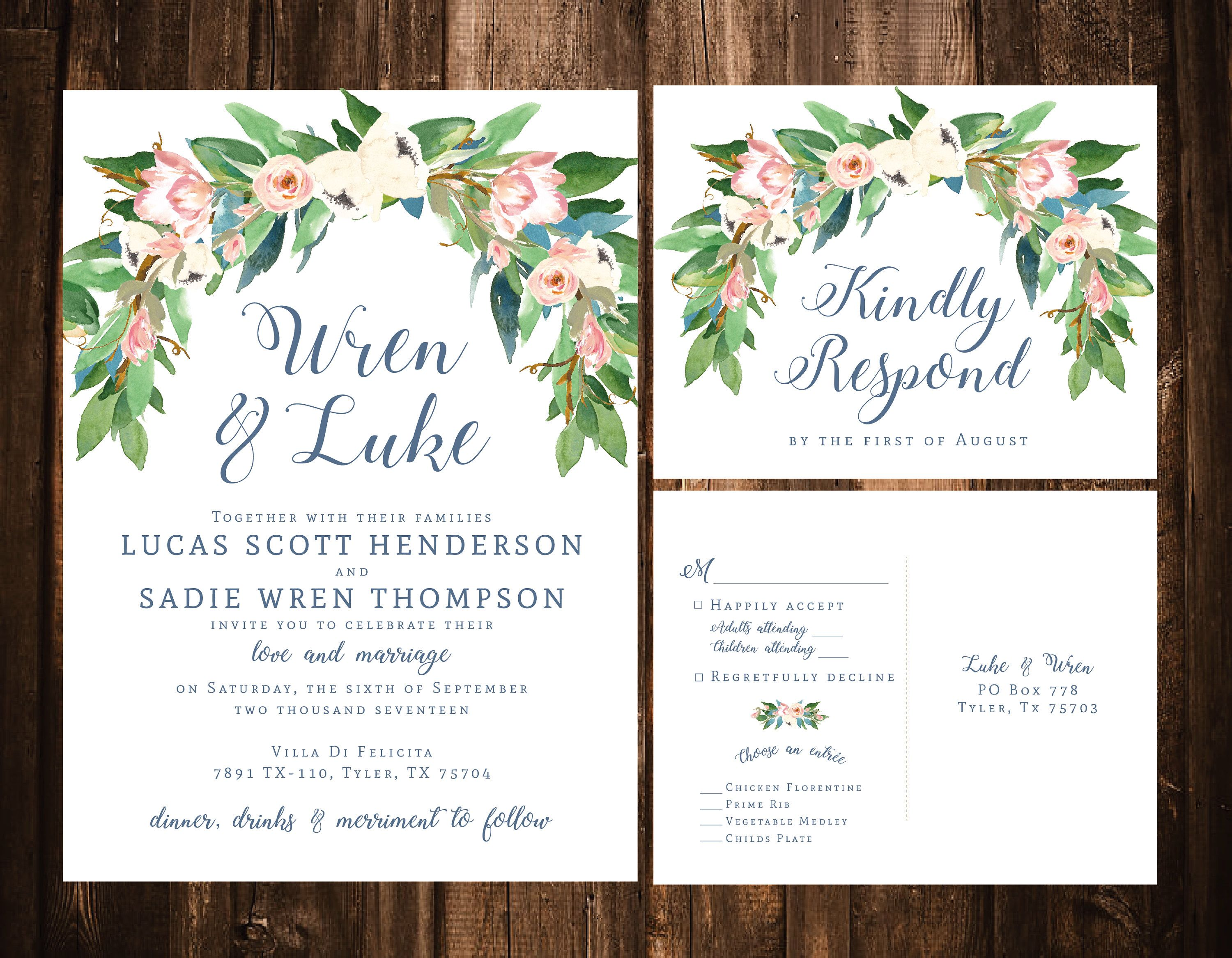 Dusty Blue & Blush Floral Wedding Invitations; Printable OR Set of ...