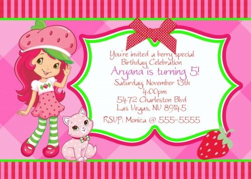 Free Strawberry Shortcake Invitation Template Zyeon Birthday - invitation template