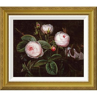 Global Gallery 'Pink Roses' by Johan Laurents Jensen Framed Wall Art Size: