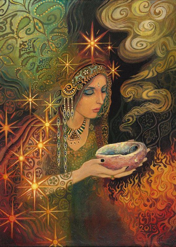 Incantation ATC ACEO Miniature Altar Art Fine Art Print Pagan Mythology Psychedelic Gypsy Witch Goddess Art