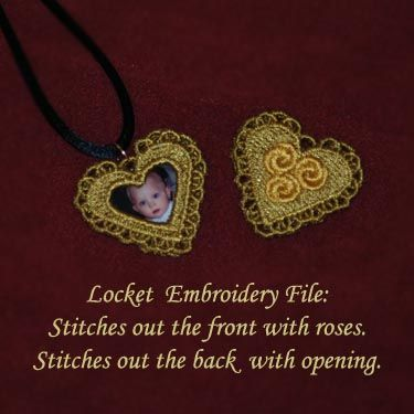 Jewelry embroidery designs  http://www.soniashowalterdesigns.com/item_231/Heart-Locket-and-Pendants-Free-Standing-Lace.htm