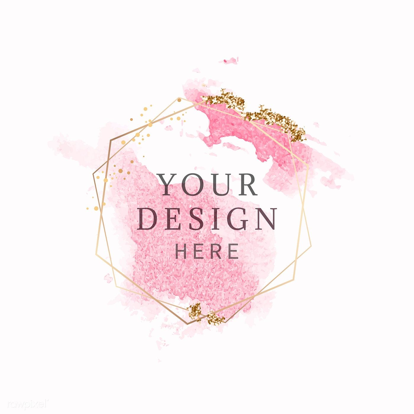 Download Premium Vector Of Gold Round Frame On Pink Watercolor