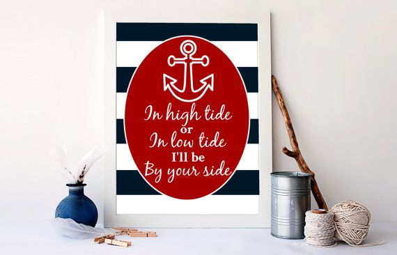 Nautical art print in high tide or low by RainbowsLollipopsArt