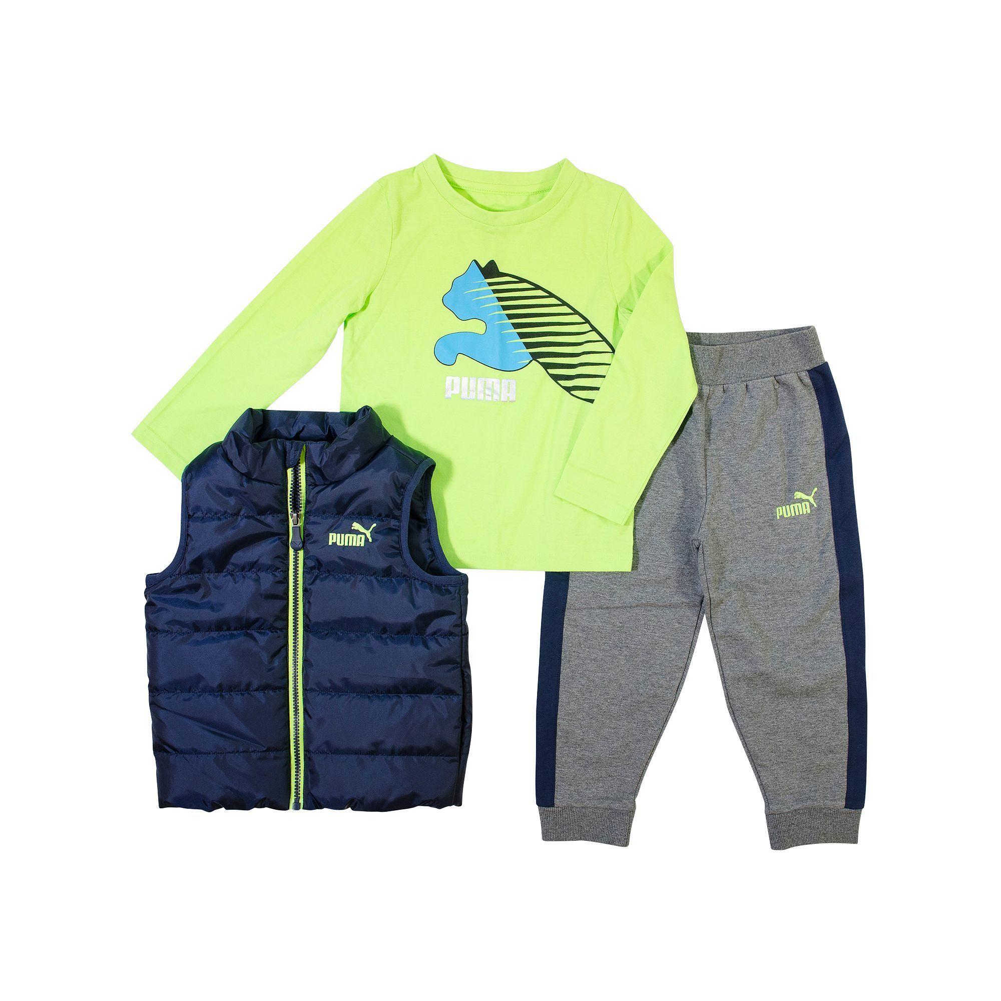 Boys 4 7 PUMA Quilted Vest, Tee & Logo Jogger Pants Set