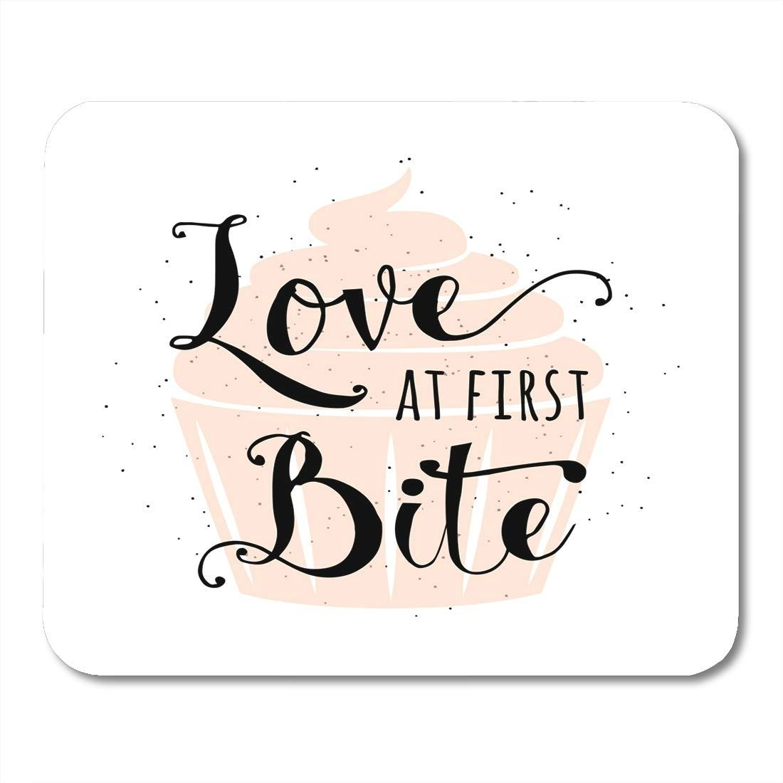 Food Related Quote Cupcake Lettering Text Sign Slogan Love at First Bite Fun Bakery Placard Creative Mousepad Mouse Pad Mouse Mat 9x10 inch