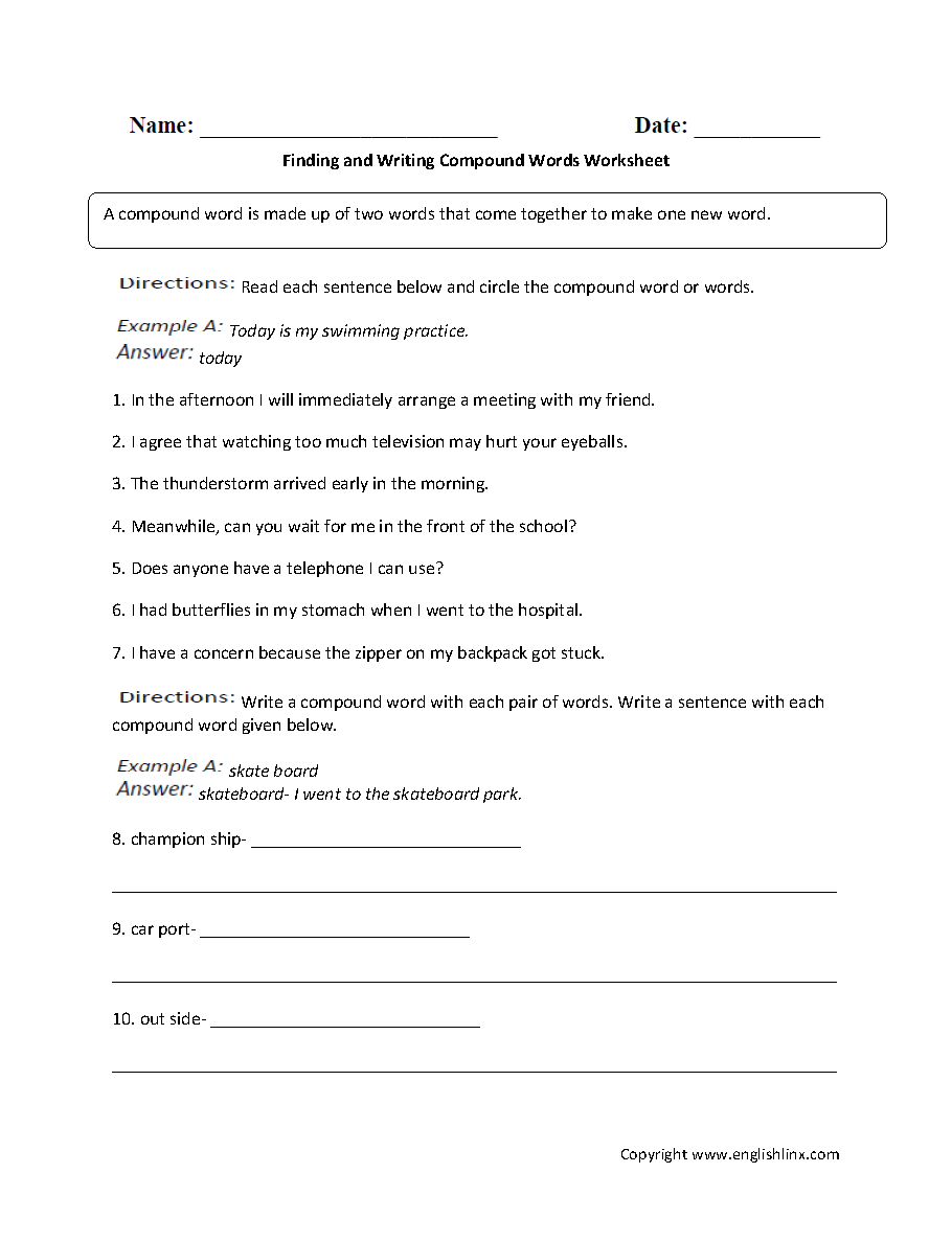 medium resolution of Englishlinx.com   Compound Words Worksheets   Compound words