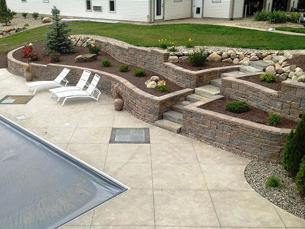 Retaining Wall Block Mixed With Boulder Wall | Yard Design