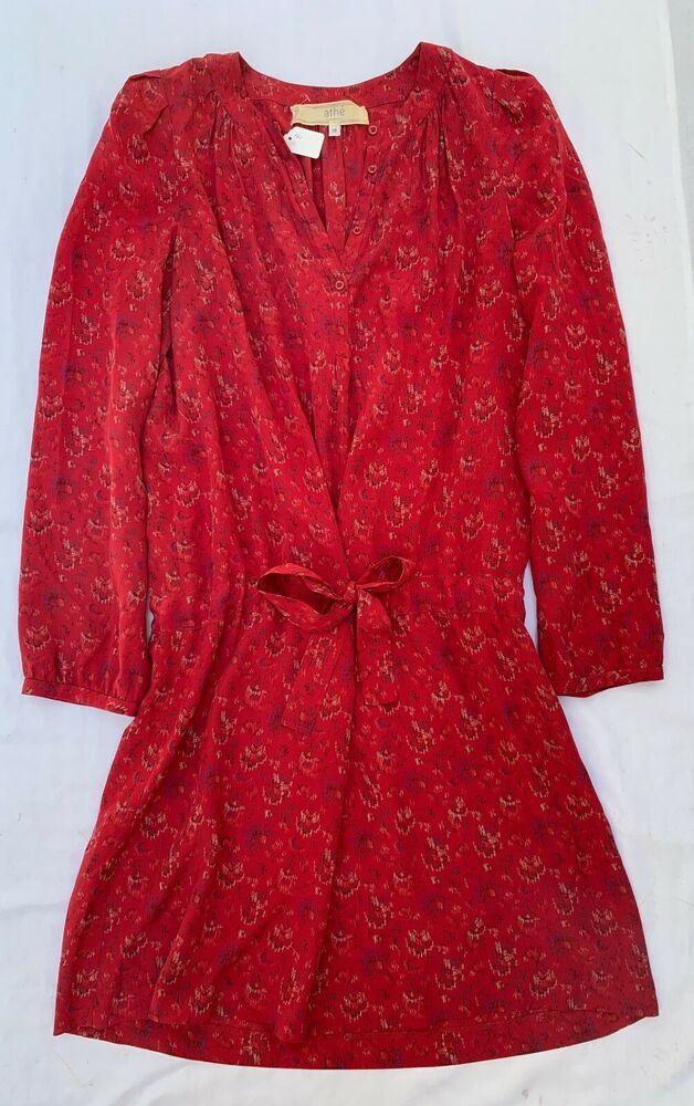 ~ ATHE VANESSA BRUNO BERRY RED PRINTED SILK TUNIC DRESS ~ 38 #VanessaBruno #TUNICDRESS