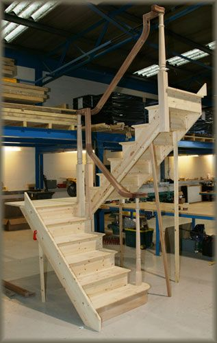 Half Landing Staircase With Continuous Handrail Small Staircase | Continuous Handrail Winder Stair | Recessed | 30 Inch | Basement | Gooseneck | 90 Degree