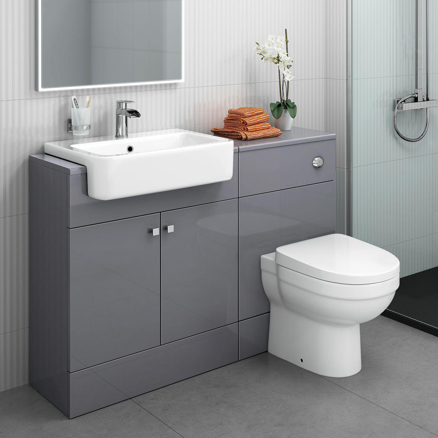 1160mm Harper Gloss Grey Combined Vanity Unit Sabrosa Ii Pan Toilet And Sink Unit Grey Bathroom Furniture Bathroom Units