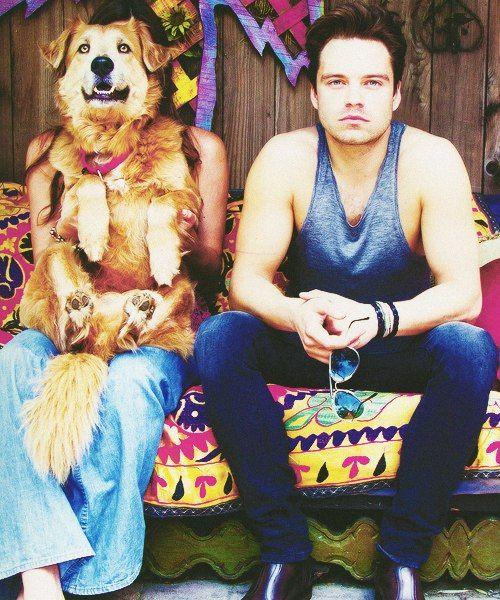 Sebastian Stan with dog) so cute)
