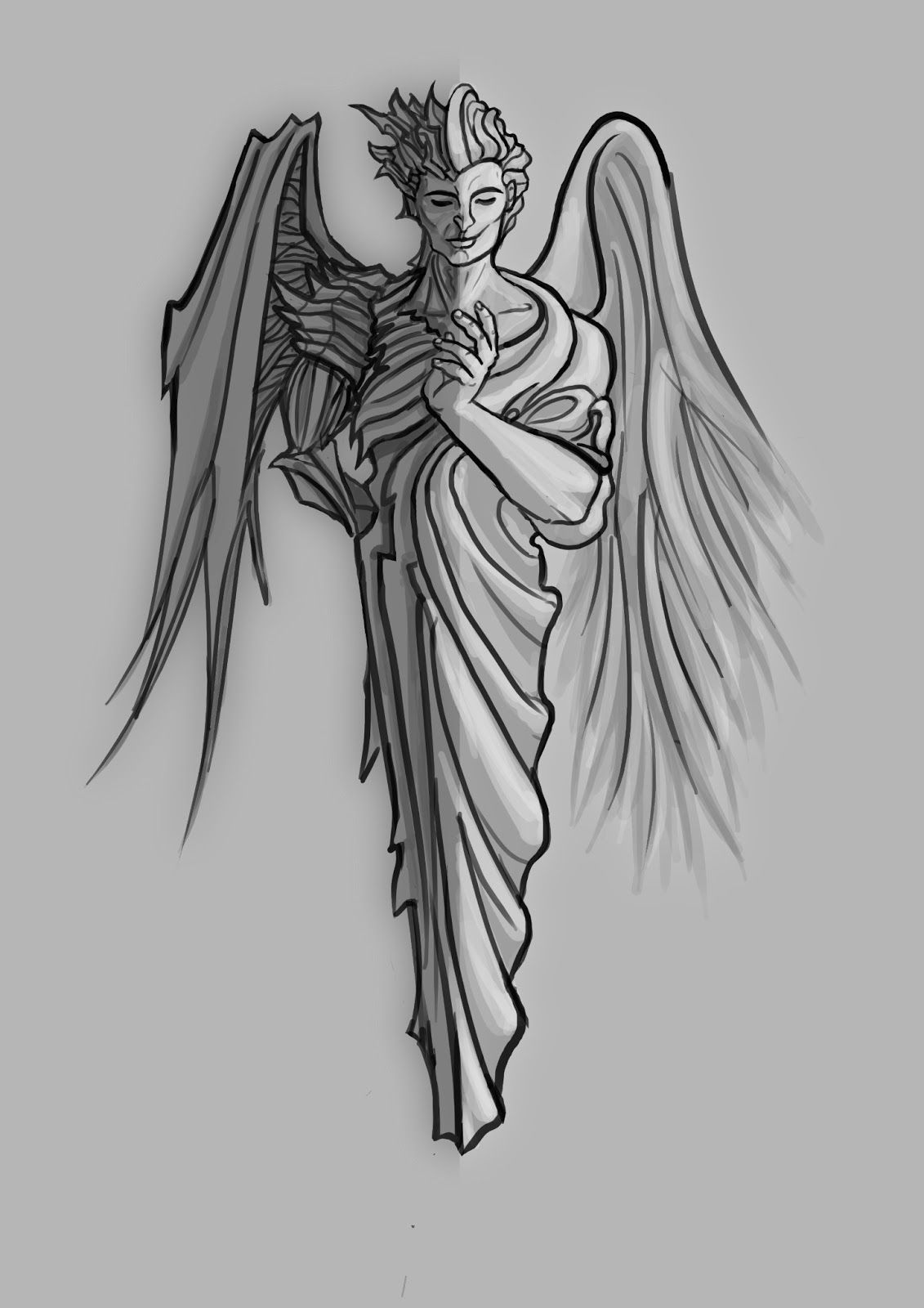 Half Angel Half Demon Tattoo A Half Devil Half Angel My Ink