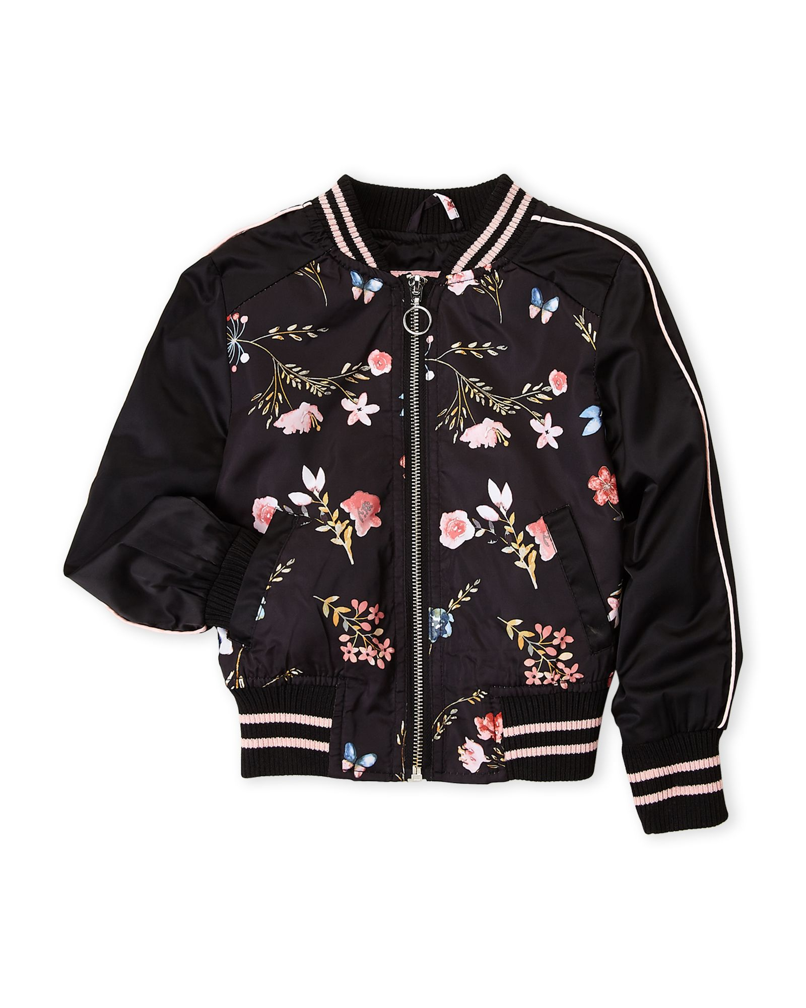 Girls 7 16) Black Floral Sateen Bomber Jacket | Bomber