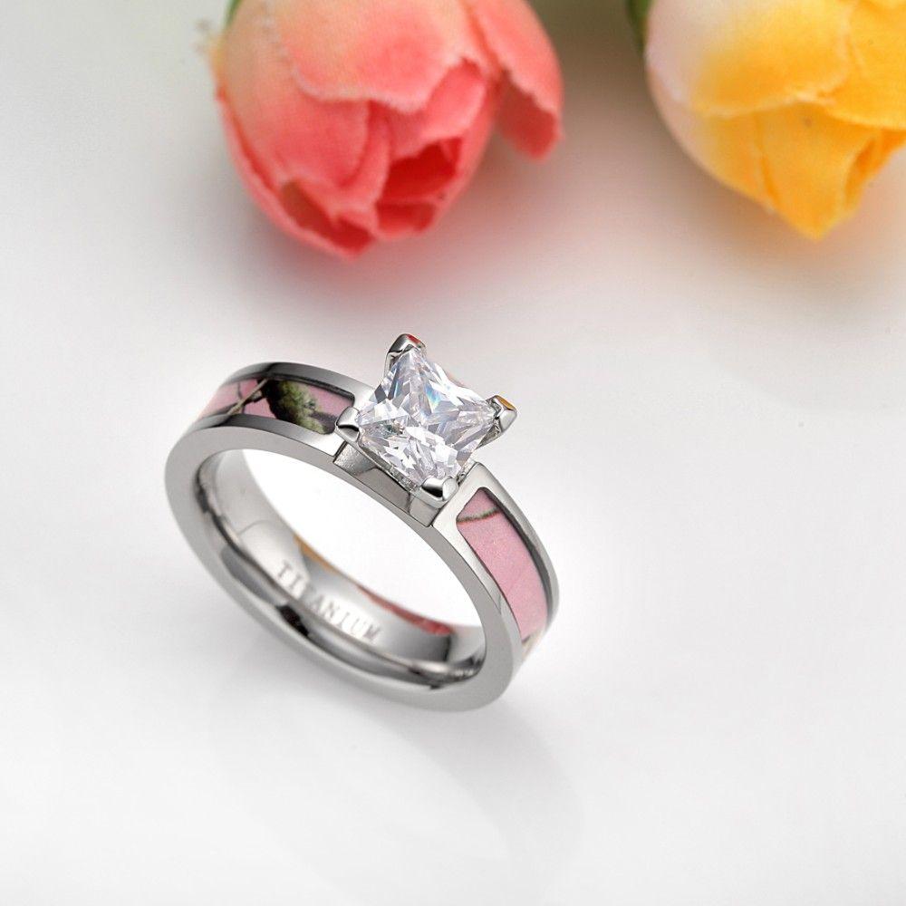 New fashion ring for women titanium 5mm light pink camo