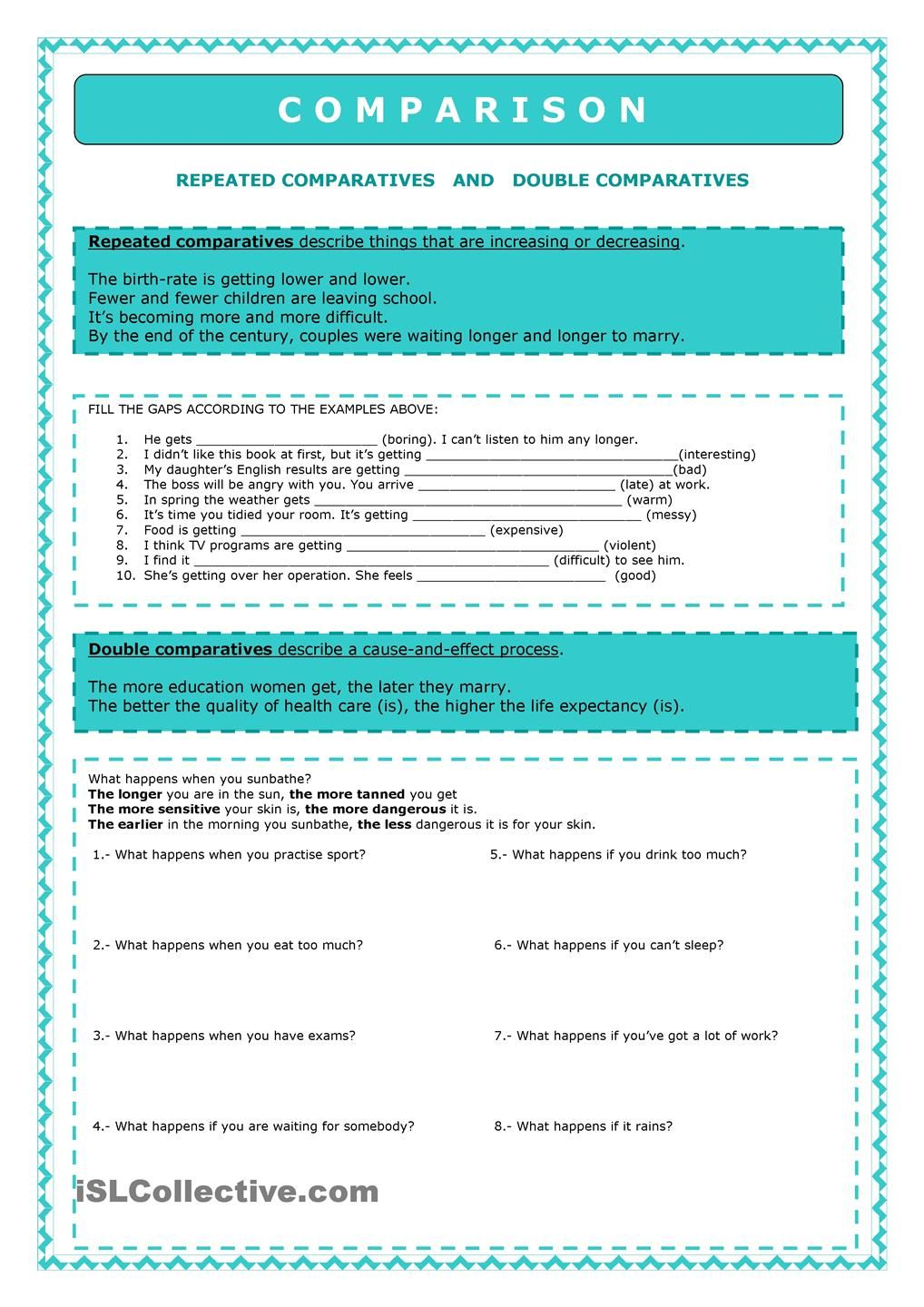 worksheet Comparatives In Spanish Worksheets comparison repeated comparative and double comparatives worksheet free esl printable worksheets made by teachers