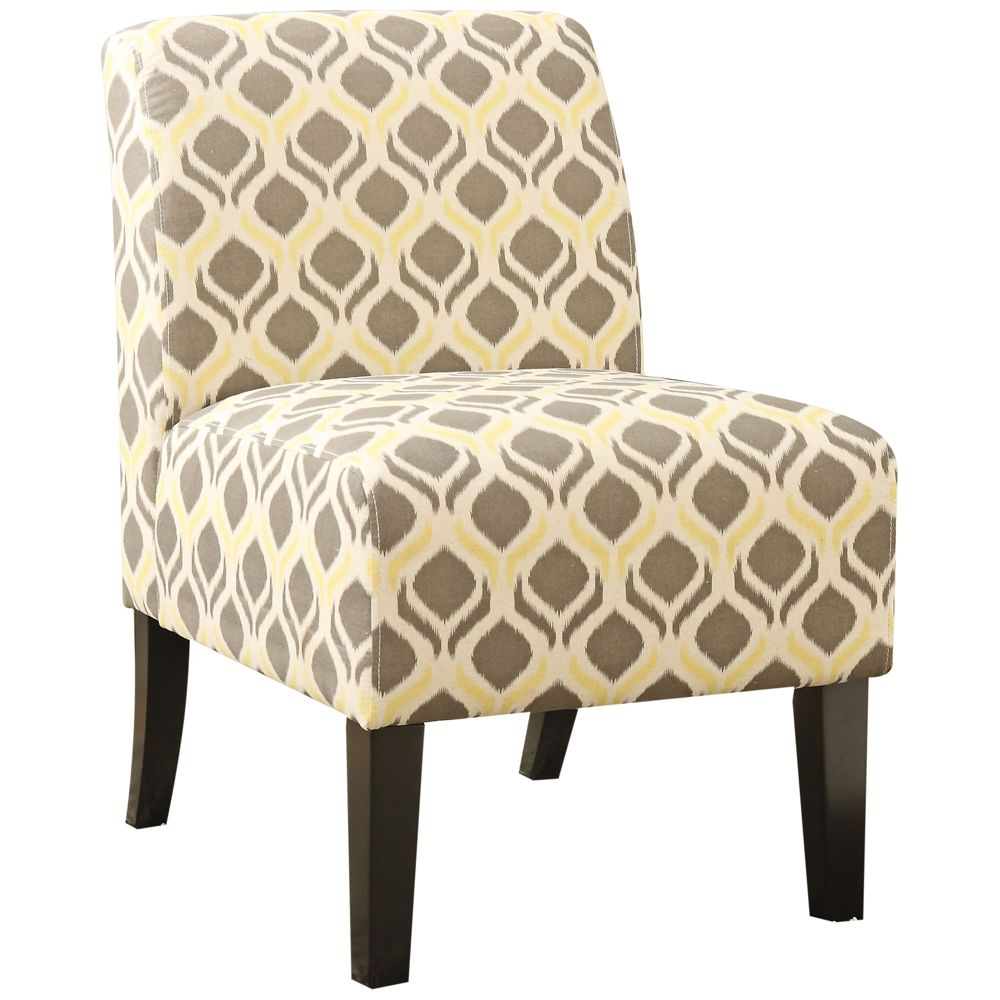 Ollano Yellow And Gray Fabric Armless Accent Chair Style 31d12