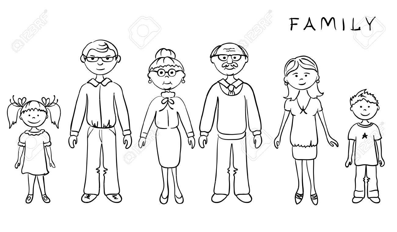 Image Title Family Cartoon Black And White Cartoon Family Clipart