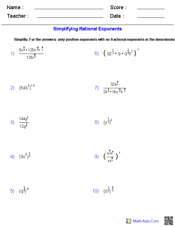 Simplifying Rational Exponents Worksheets | Math-Aids.Com | Algebra ...
