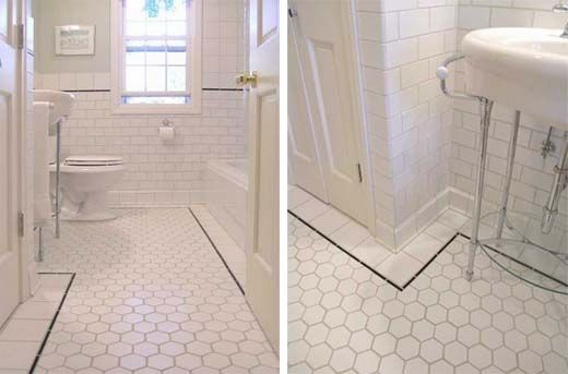 White Tile Floors in Bathroom | Bathroom & Sauna | Pinterest ...