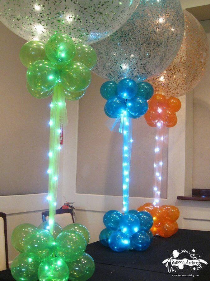 Sparkle Balloons with Rice Lights Centerpeices that