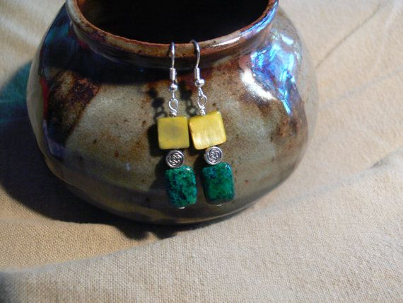 Mother of pearl and jasper dangle earrings by MarquisCreations, $9.75