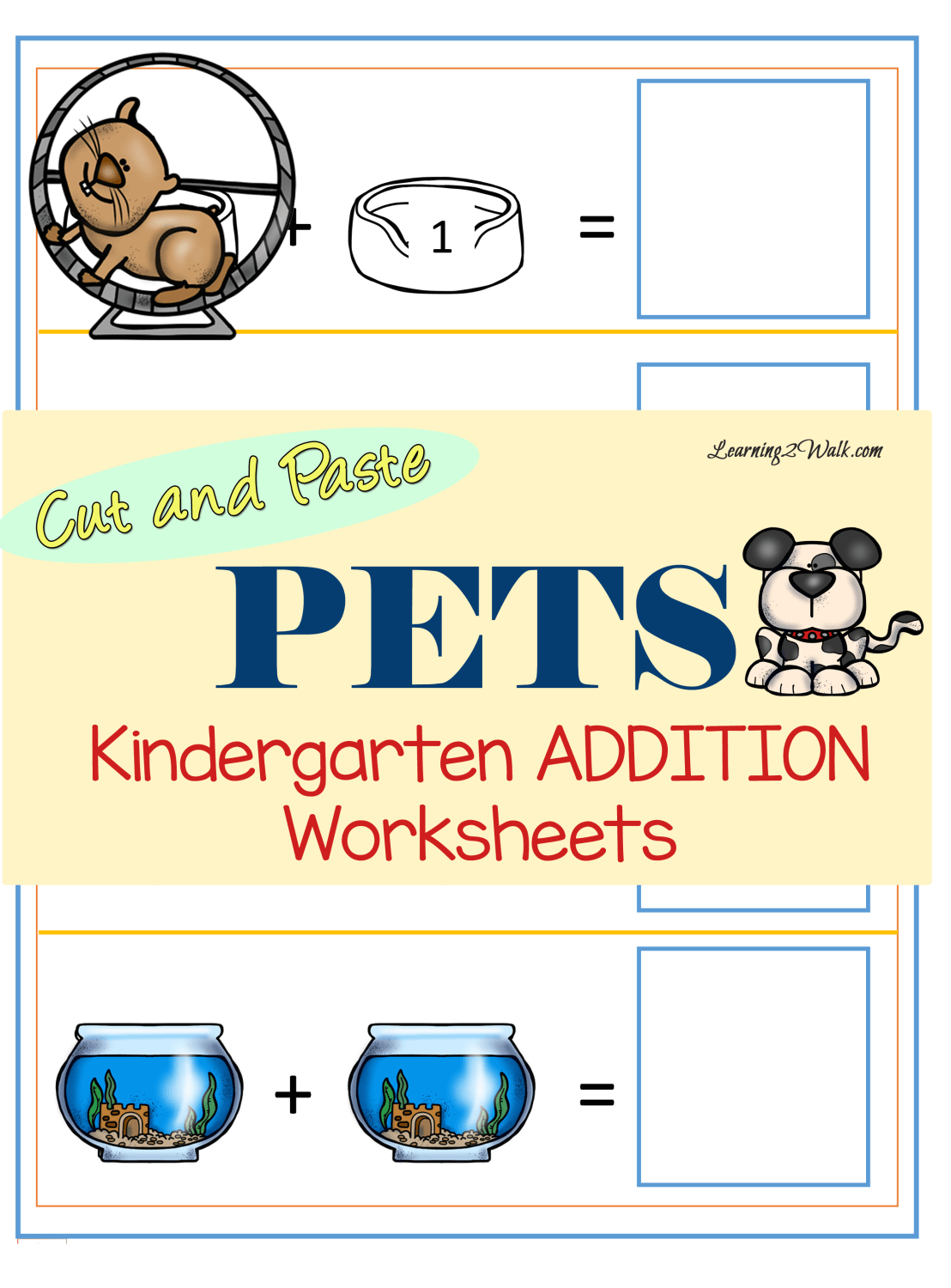 Pets Kindergarten Addition Worksheets