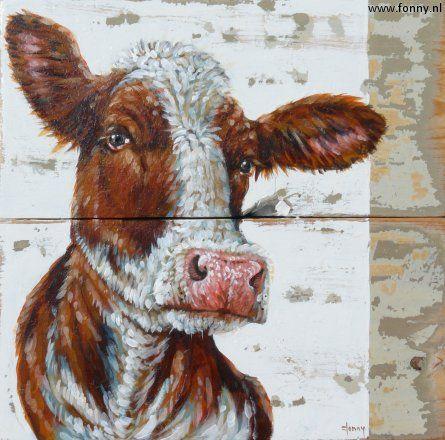 Roodbonte Koe Red Cow 28 X 28 Cm Also English Version Available On My Website Http Www Fonny Nl En Dierlijke Schilderijen Koeien Kunst Huisdier Kunst