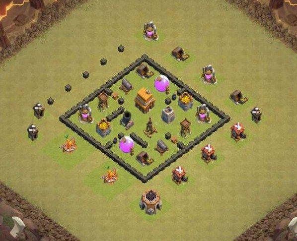 Base Coc Th 4 Pertahanan Kuat 9
