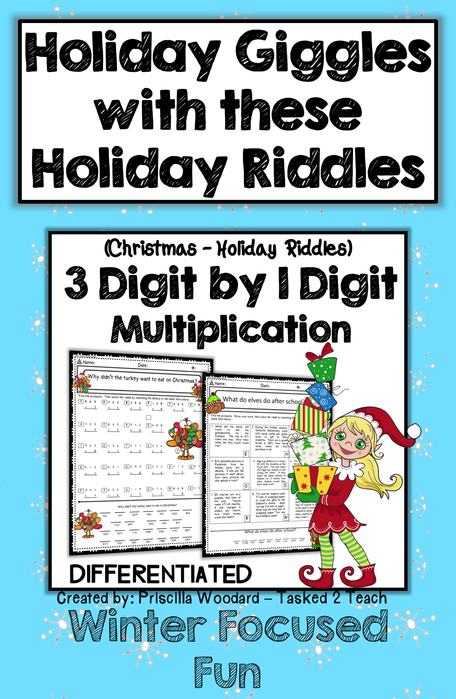 3 Digit By 1 Digit Multiplication Winter Theme Christmas