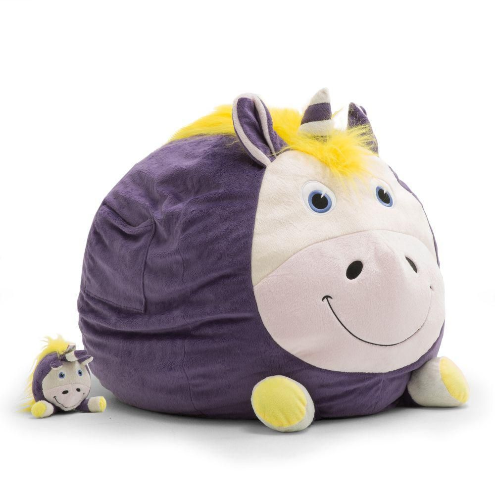 Big joe unice the unicorn cozy purple plush bean bag in