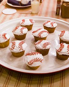 These adorable baseball-style cupcakes with red licorice laces are sure to be a hit with kids and adults -- and you'll be spared the task of slicing equitable pieces of cake for a crowd of waiting guests.