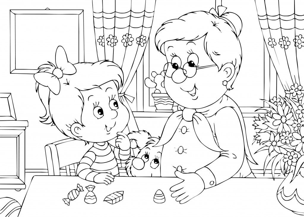 Grandma And Me Coloring Page For Grandparent\'s Day | Grandparent\'s ...