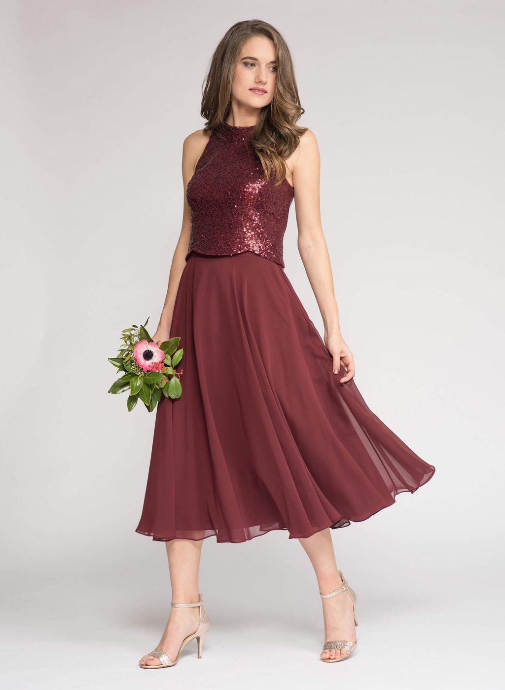 5c6d027d45ca7f Mix and match bridesmaid separates. Kendall sequin crop top and Keaton Midi  chiffon skirt in