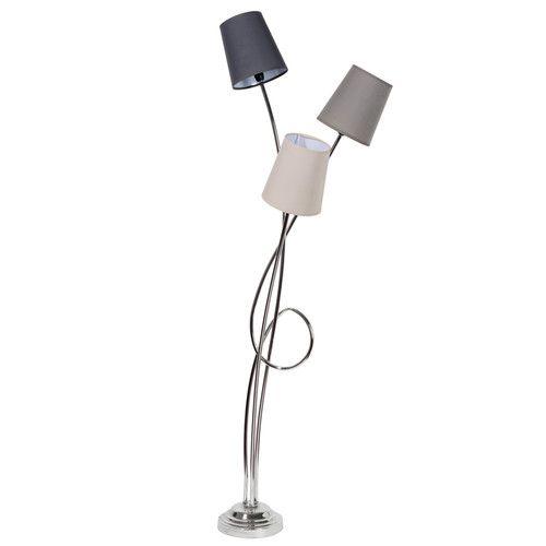 Lampadaire en métal chromé et tissu H 140 cm BOUCLE